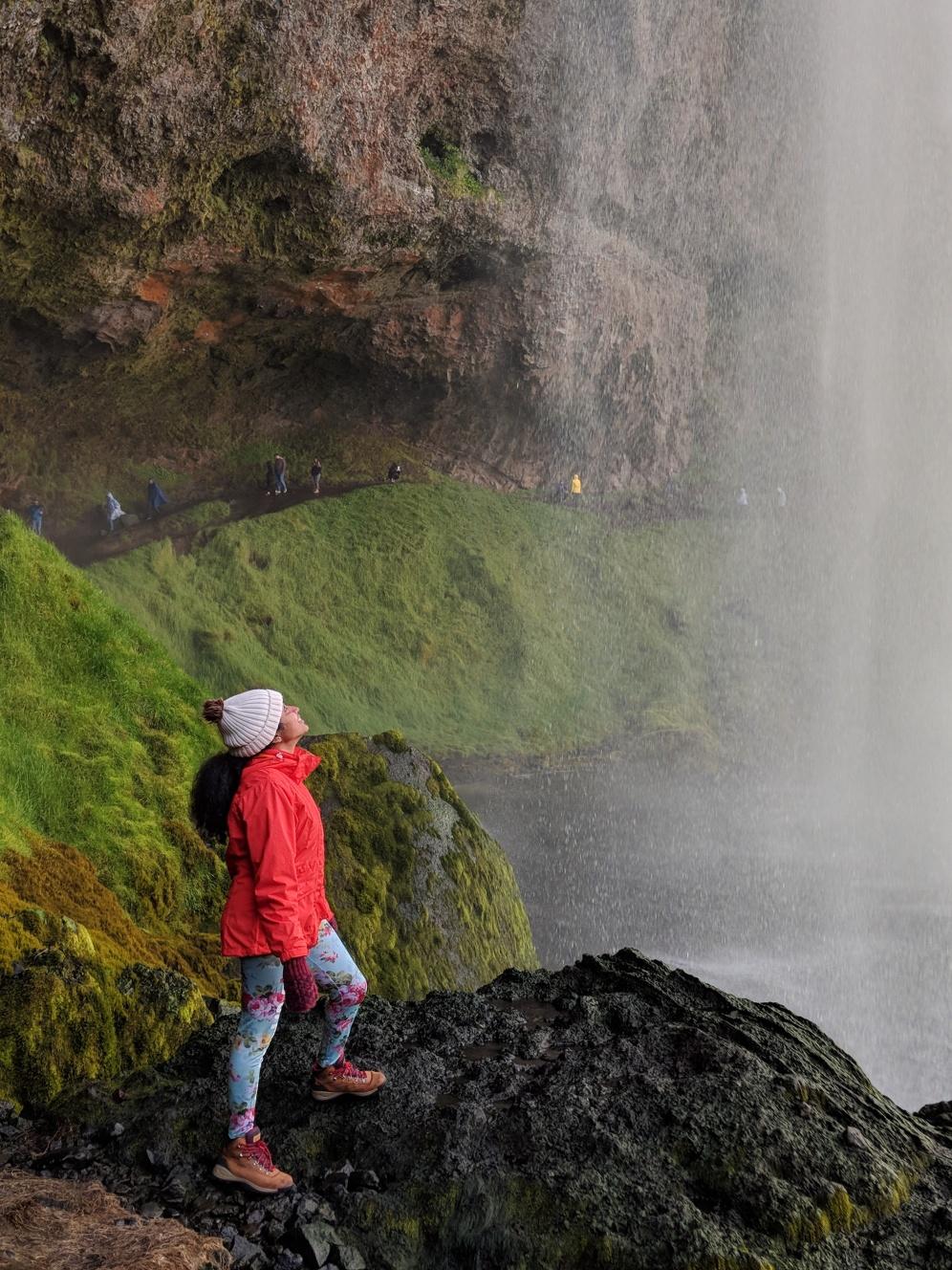Walking behind waterfalls